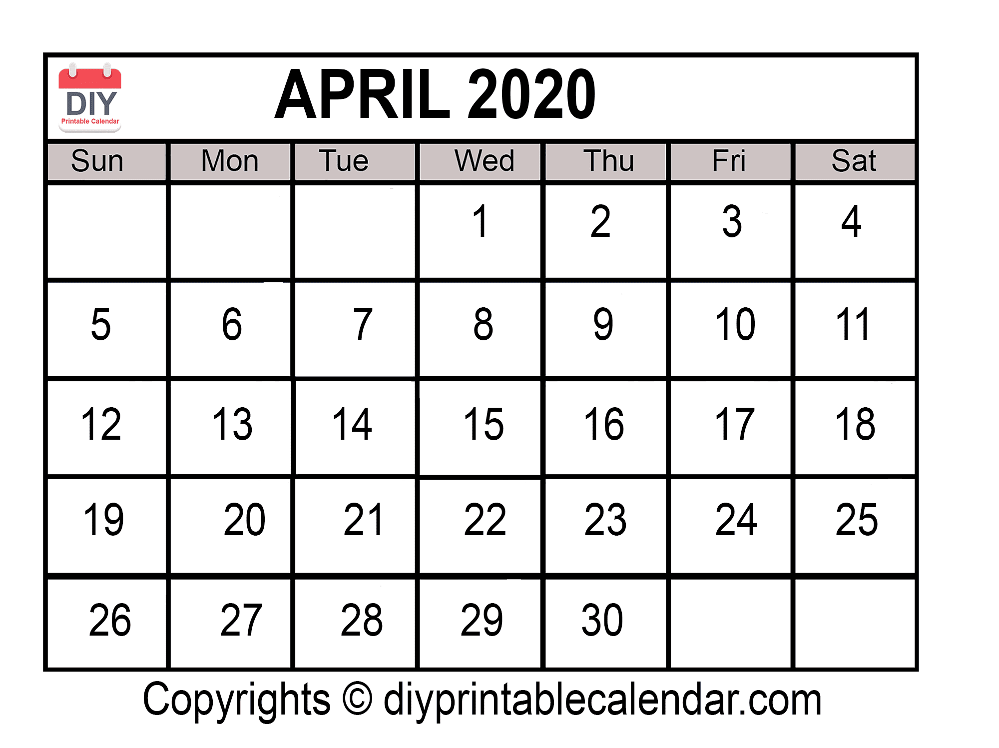Download April 2020 Printable Calendar