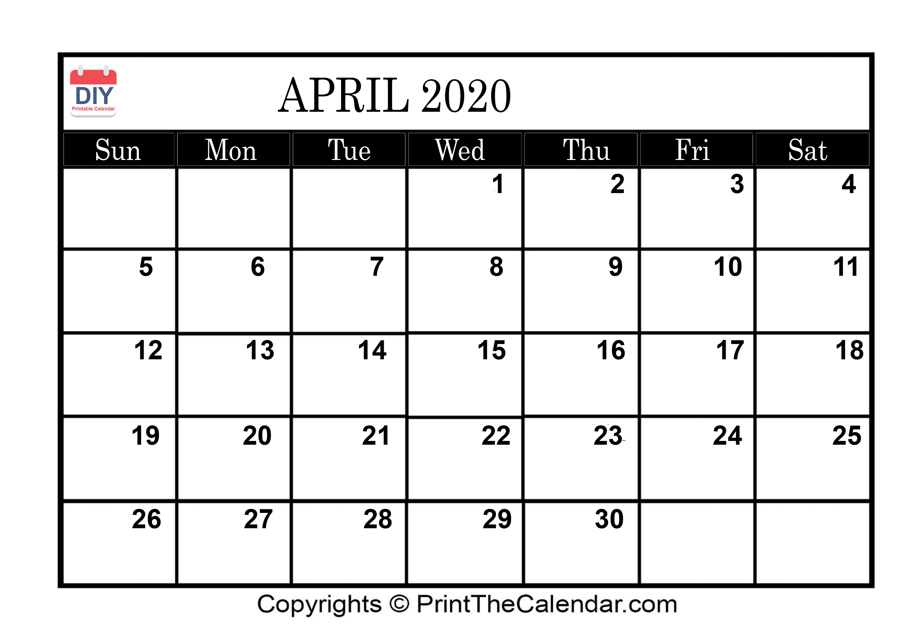 photograph about Printable Calendar April known as April 2020 Printable Calendar Template