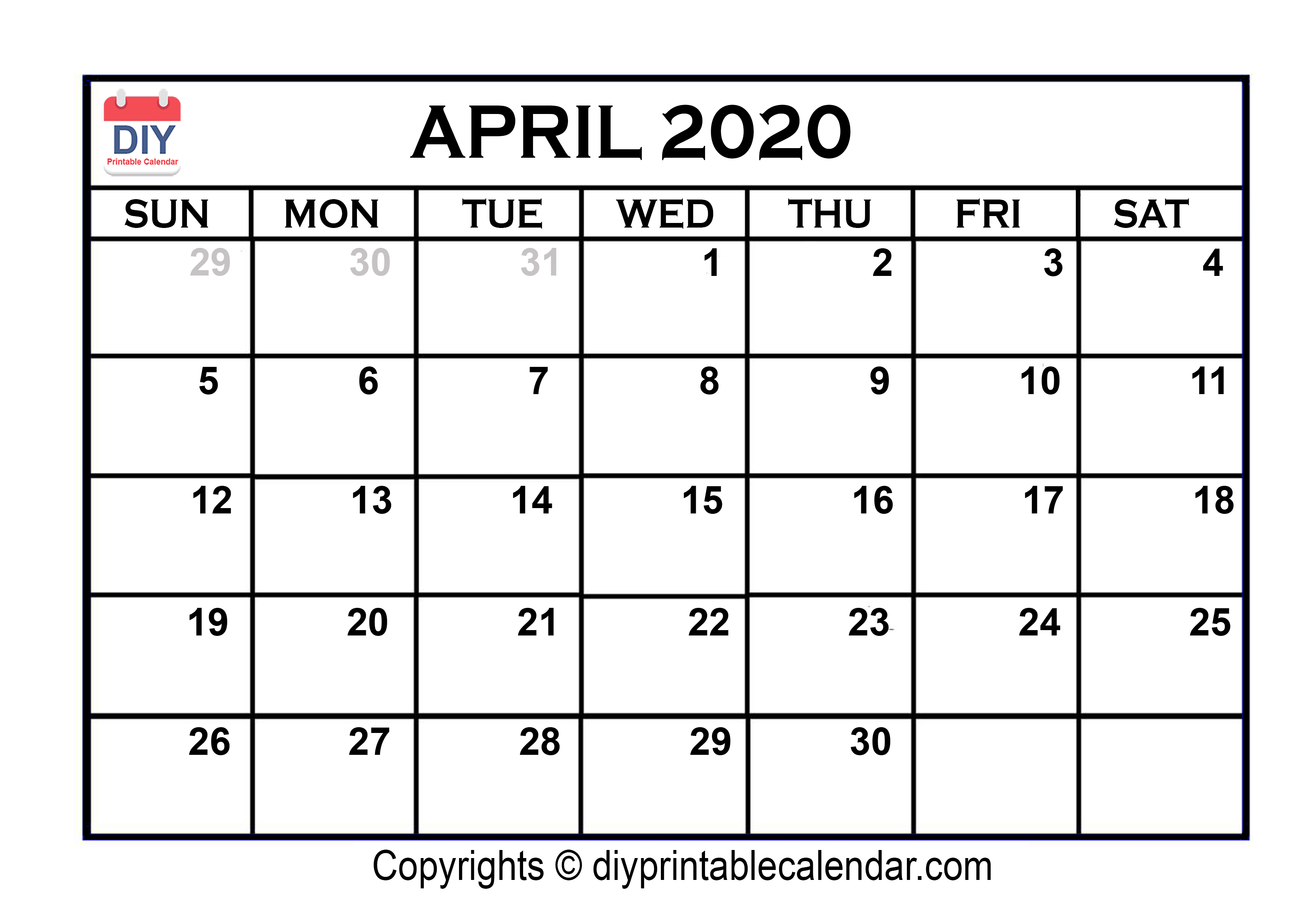 April Month Calendar 2020 Printable