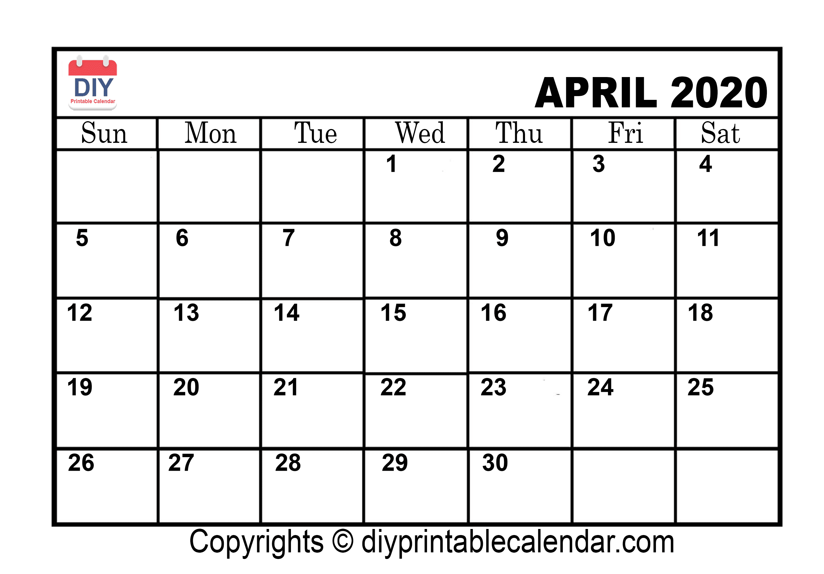 picture about Printable Calendar Template referred to as April 2020 Printable Calendar Template