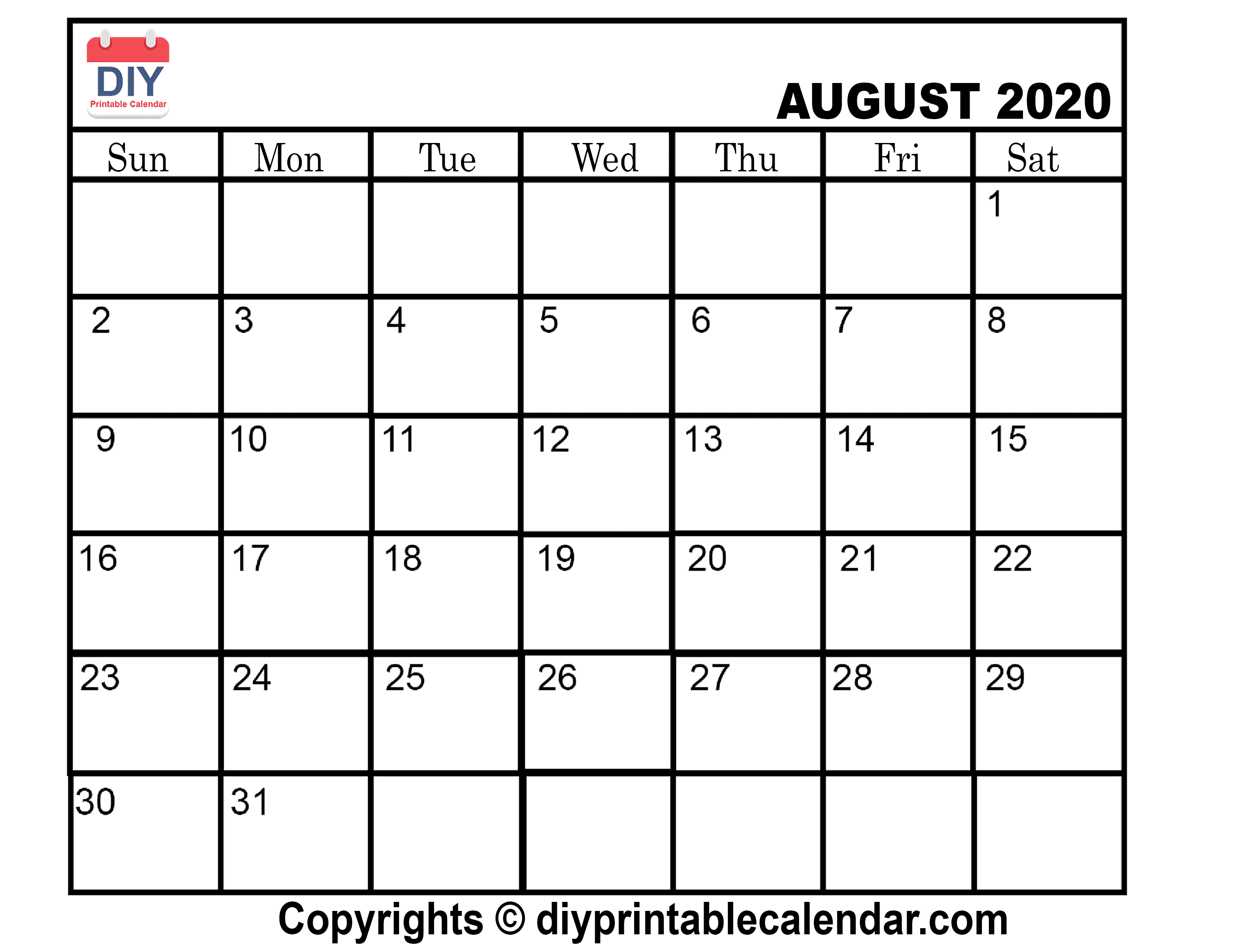 graphic about August Printable Calendar referred to as August 2020 Printable Calendar Template
