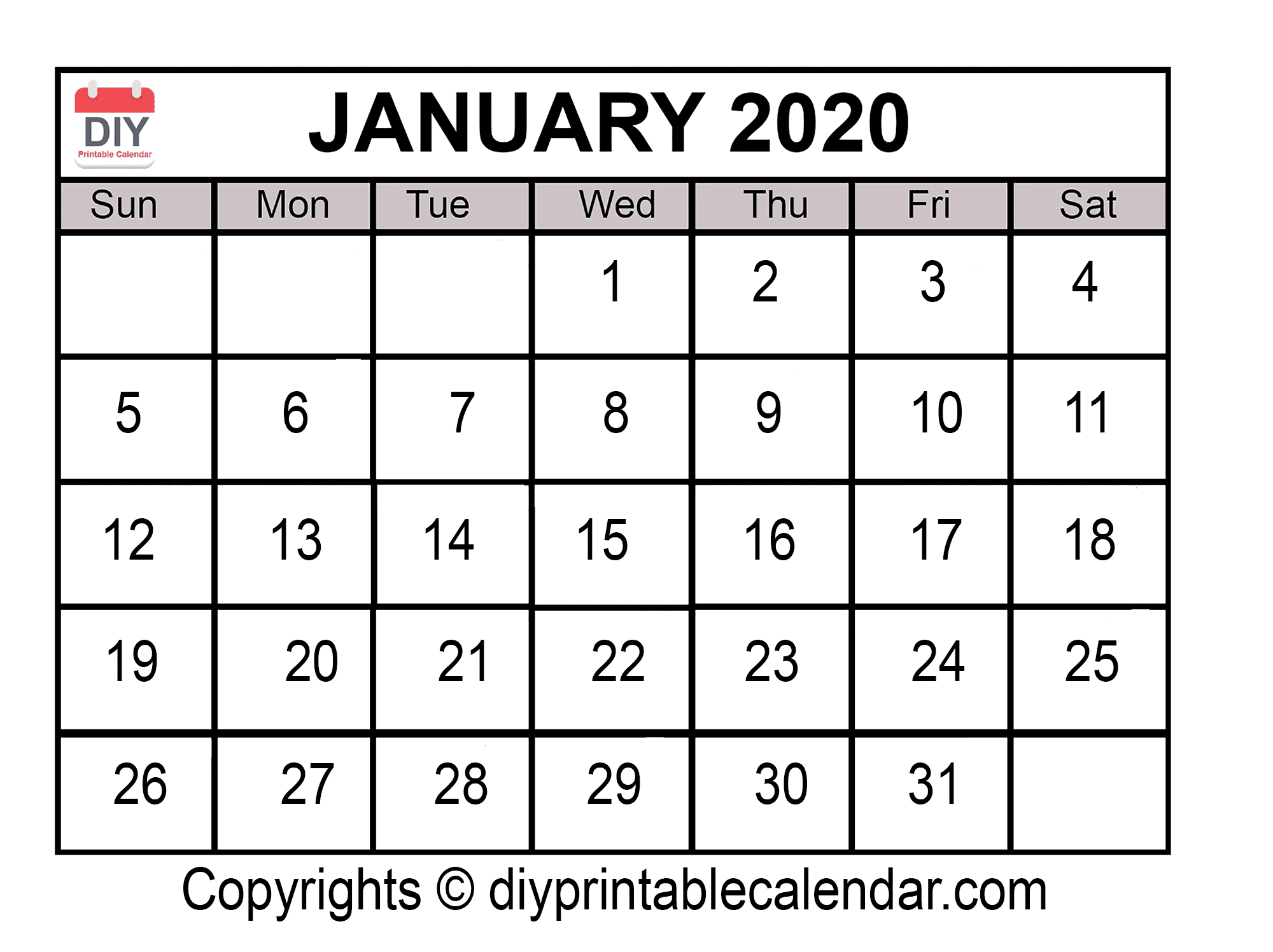 Download January 2020 Printable Calendar