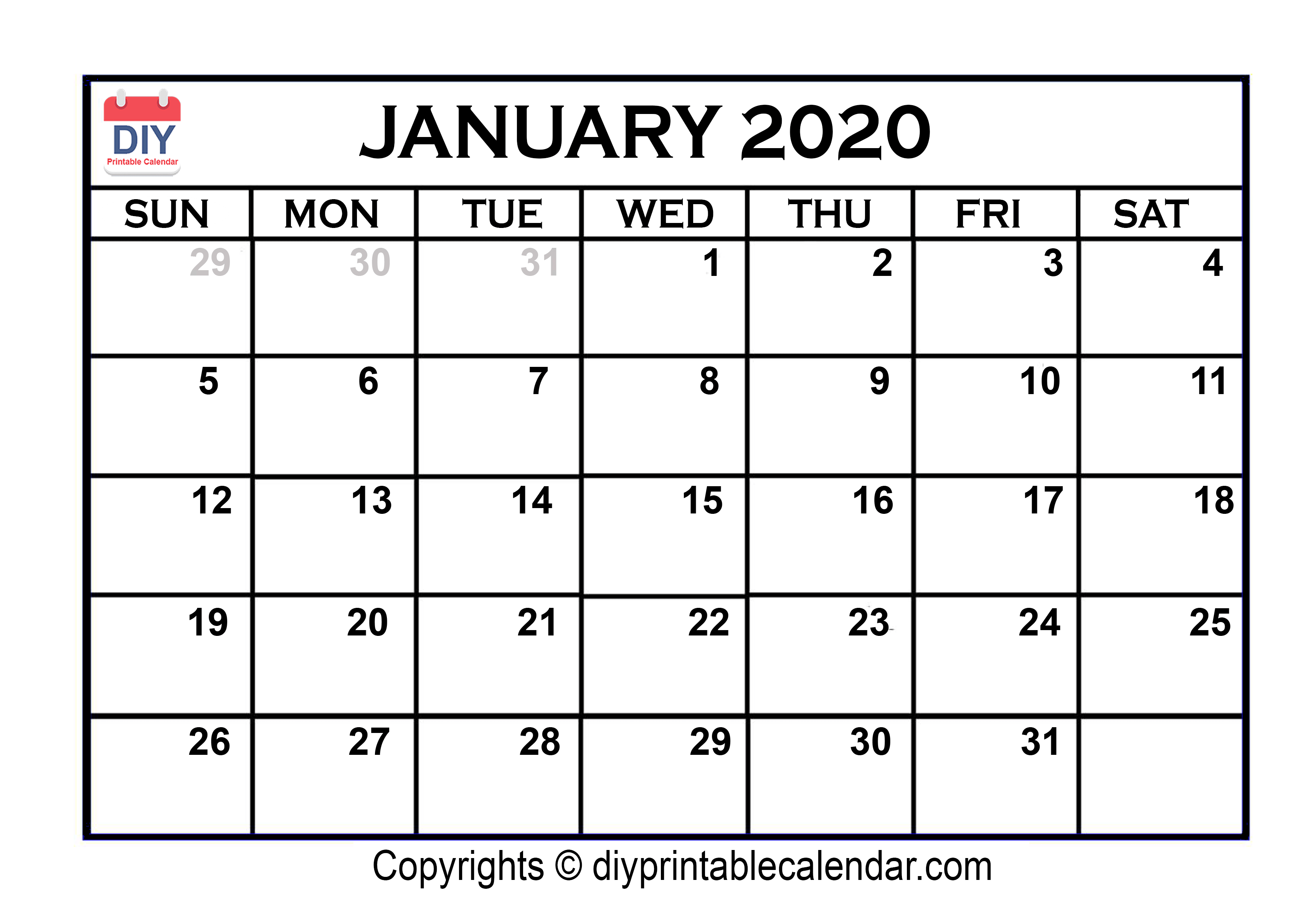 January Month Calendar 2020 Printable