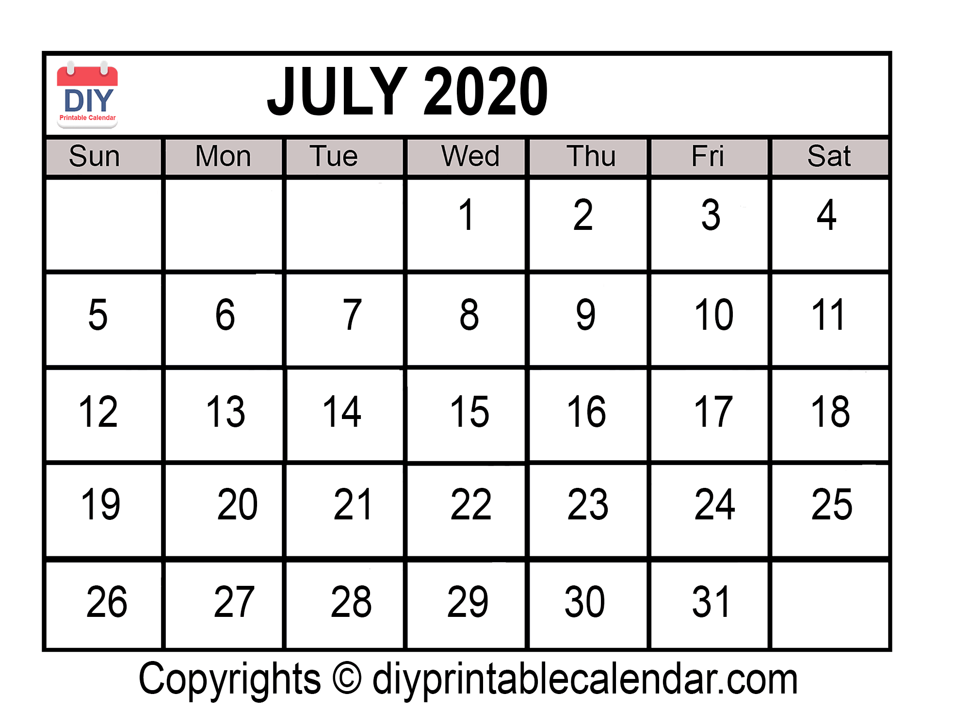 Download July 2020 Printable Calendar