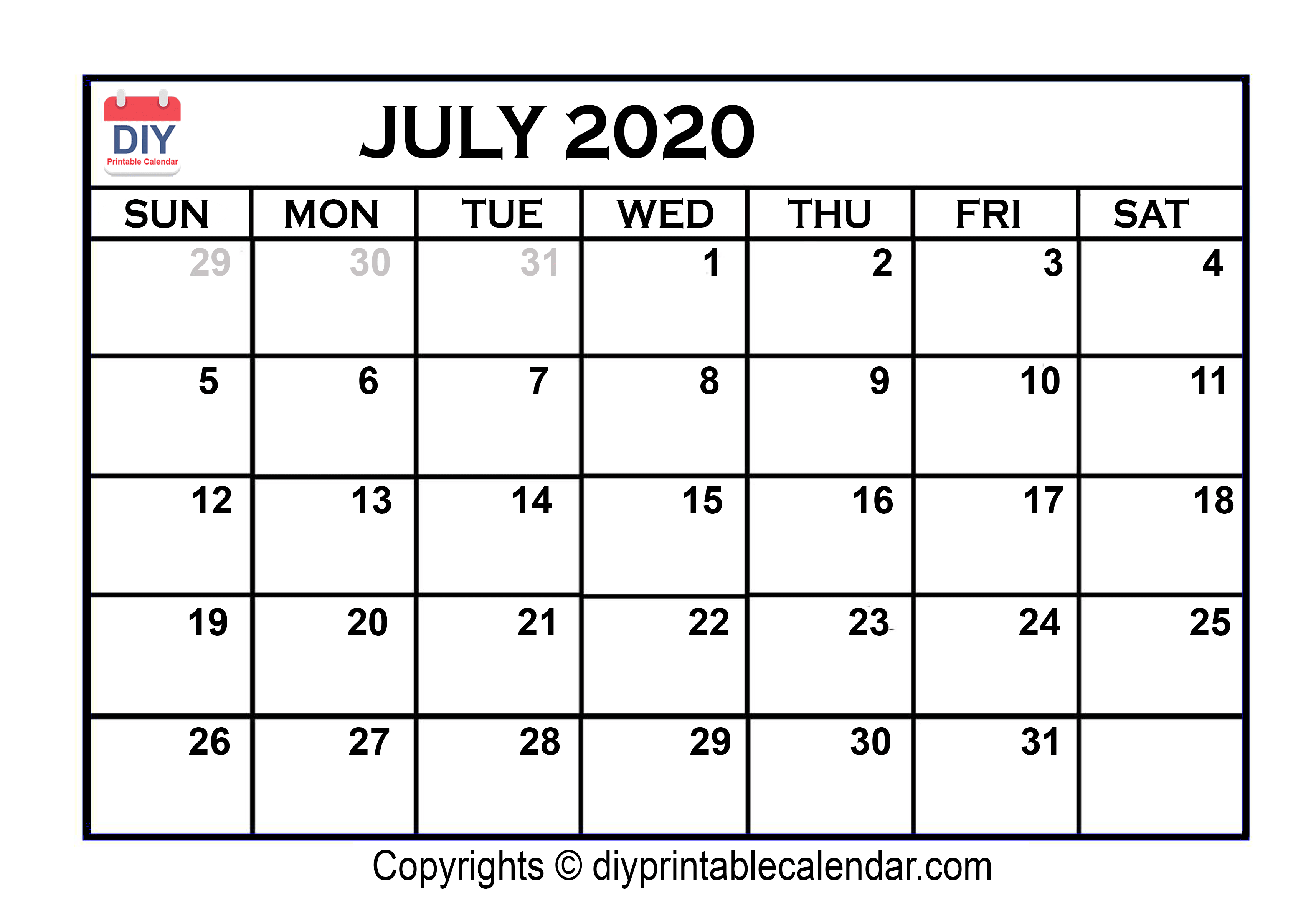 July Month Calendar 2020 Printable