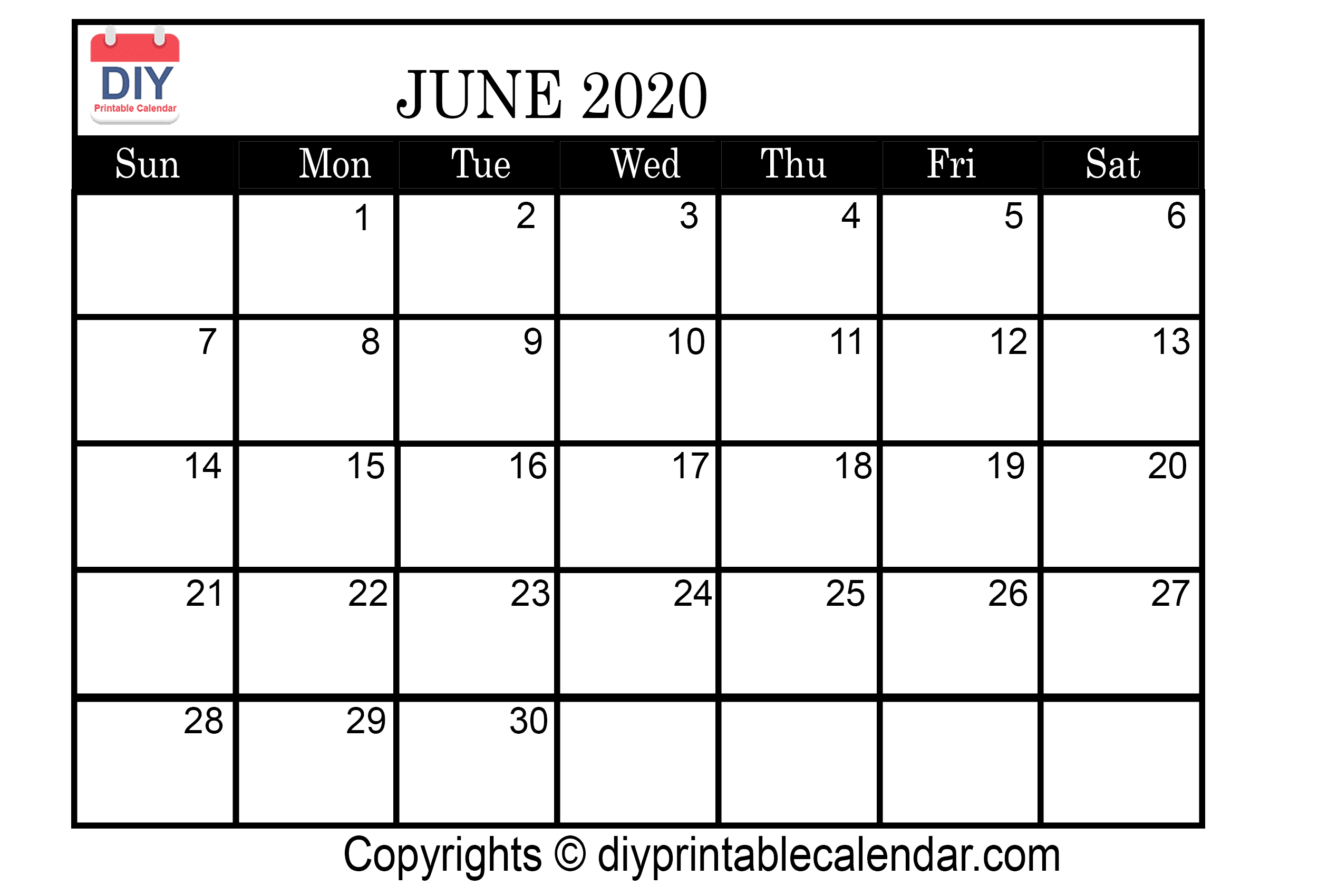 picture relating to June Printable Calendar identified as June 2020 Printable Calendar Template