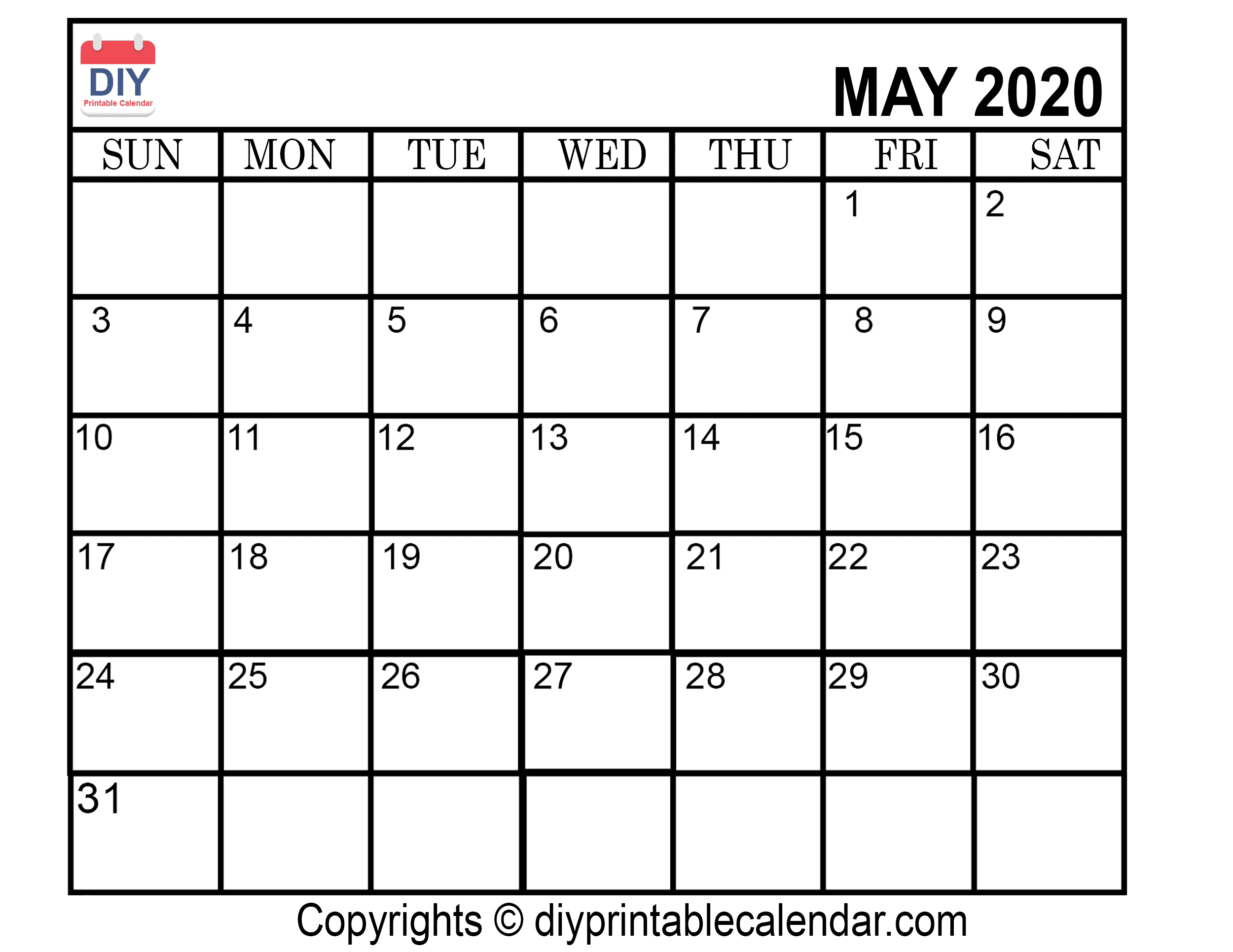 Download May 2020 Printable Calendar