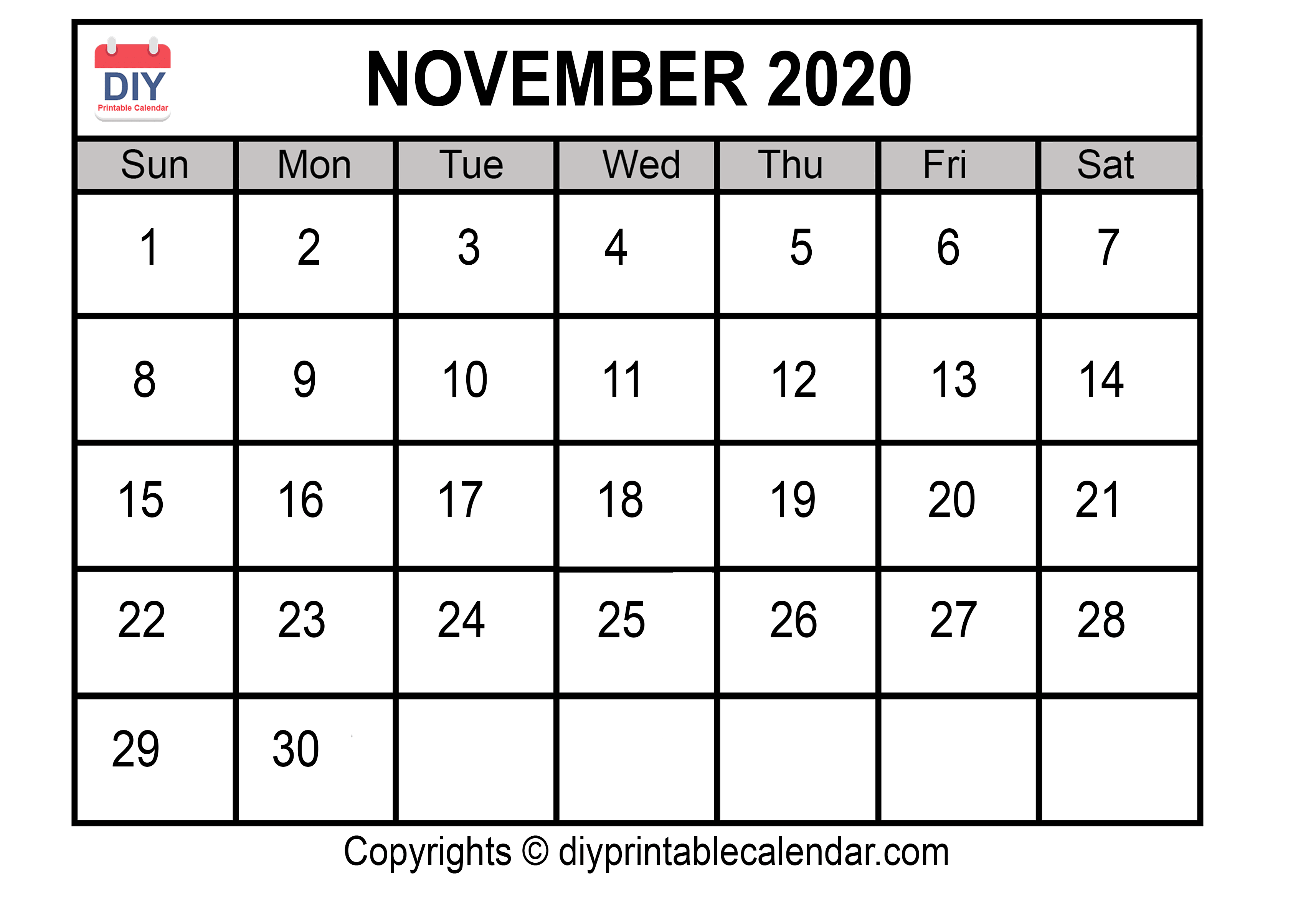 image relating to Printable Nov Calendar referred to as November 2020 Printable Calendar Template