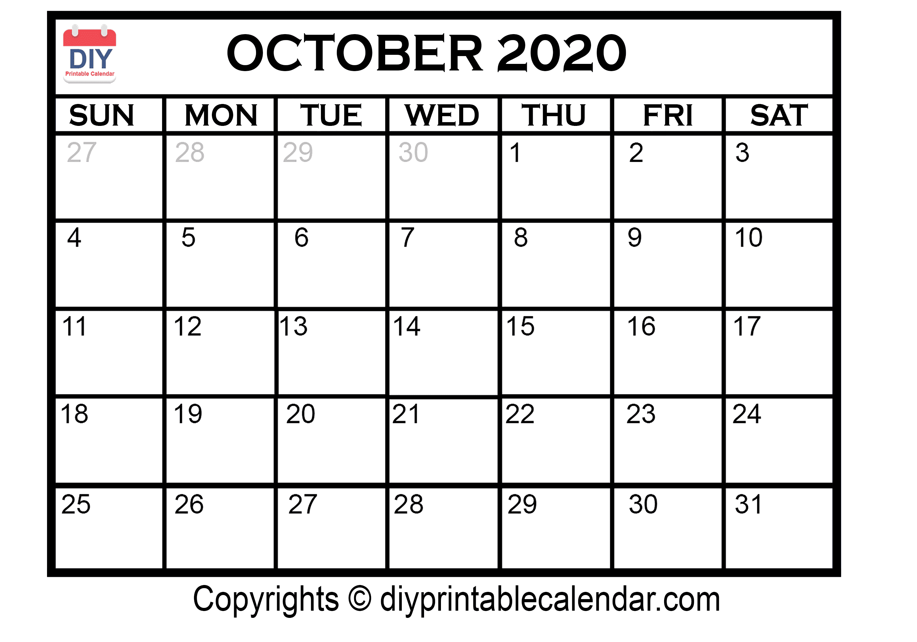 graphic regarding Printable Calendar October referred to as Oct 2020 Printable Calendar Template