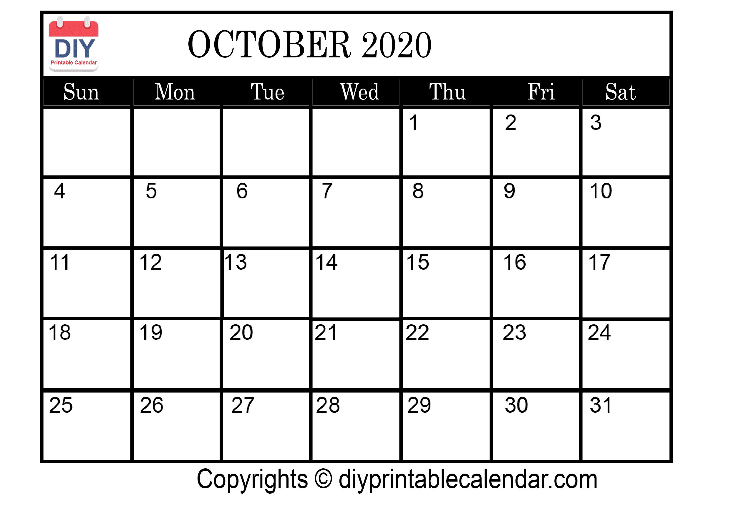 photo relating to October Calendar Printable identified as Oct 2020 Printable Calendar Template