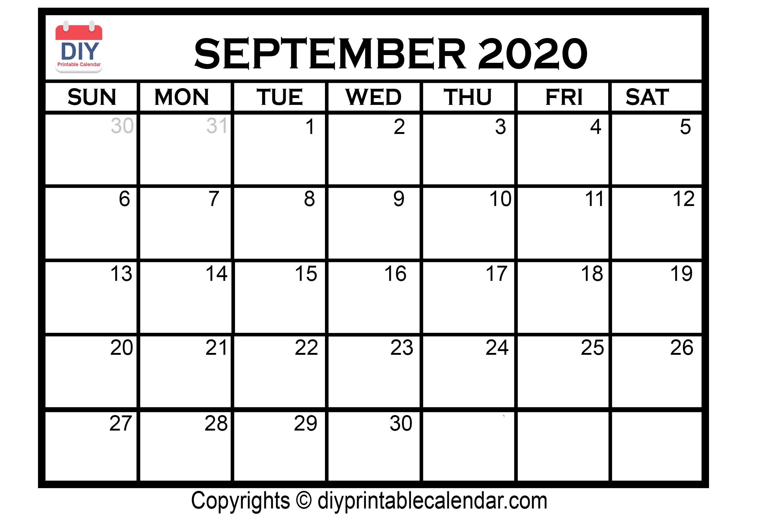 image relating to September Printable Calendar titled September 2020 Printable Calendar Template